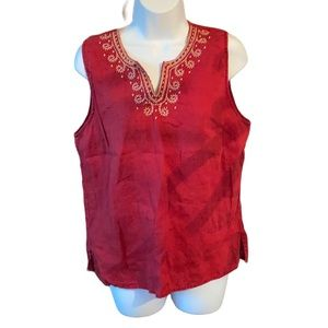 Red Cotton Embroidered V Neck Tank Size L